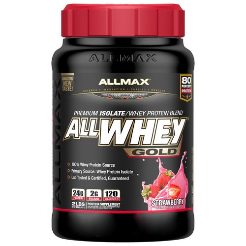 ALLMAX Nutrition, AllWhey Gold, 100% Whey Protein + Premium Whey Protein Isolate, Strawberry, 2 lbs (907 g) فوائد