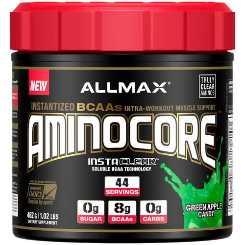 ALLMAX Nutrition, AMINOCORE, BCAA, 8G BCAAs, 100% Pure 45:30:25 Ratio, Gluten Free, Green Apple Candy, 1.02 lb (462 g) فوائد