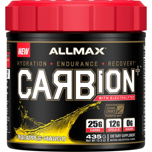 ALLMAX Nutrition, CARBion+ with Electrolytes + Hydration, Gluten-Free + Vegan Certified, Pineapple Mango, 15.3 oz (435 g) فوائد