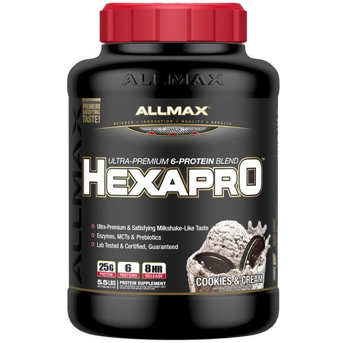 ALLMAX Nutrition, Hexapro, Ultra-Premium Protein + MCT & Coconut Oil, Cookies & Cream, 5.5 lbs (2.5 kg) فوائد