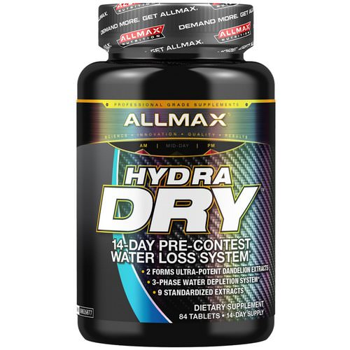 ALLMAX Nutrition, HydraDry, Ultra-Potent Diuretic + Electrolyte Stabilizer, 84 Tablets فوائد