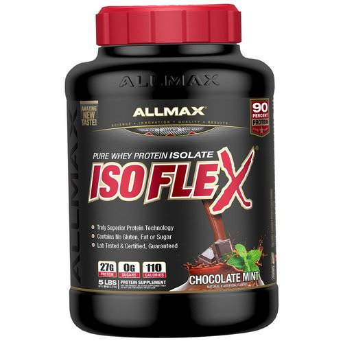 ALLMAX Nutrition, Isoflex, Pure Whey Protein Isolate (WPI Ion-Charged Particle Filtration), Chocolate Mint, 5 lbs (2.27 kg) فوائد