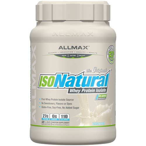 ALLMAX Nutrition, IsoNatural, Pure Whey Protein Isolate, The Original, Unflavored, 2 lbs (907 g) فوائد