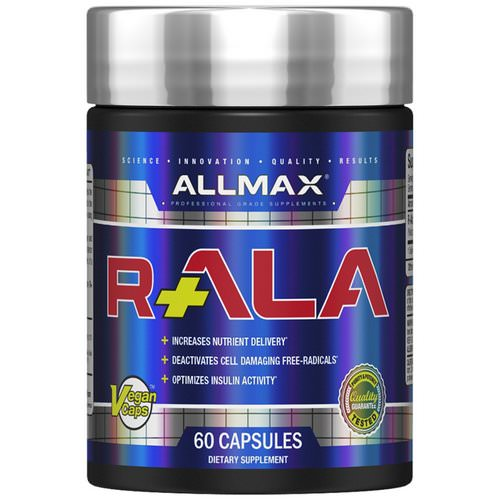 ALLMAX Nutrition, R+ALA, R-Alpha Lipoic Acid Yielding 125 mg of Active R (+) ALA Isomer, 150 mg, 60 Vegan Capsules فوائد