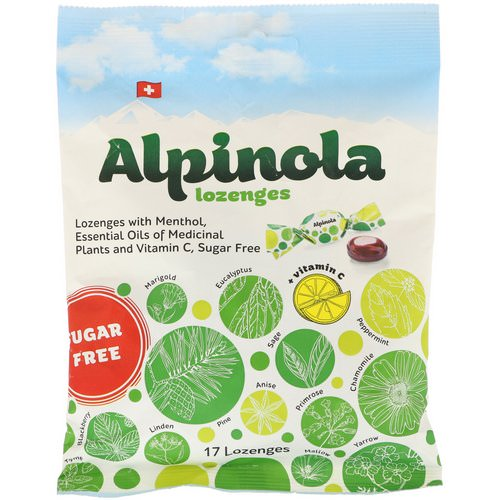 Alpinola, Lozenges with Menthol, Essential Oils and Vitamin C, Sugar Free, 17 Lozenges فوائد