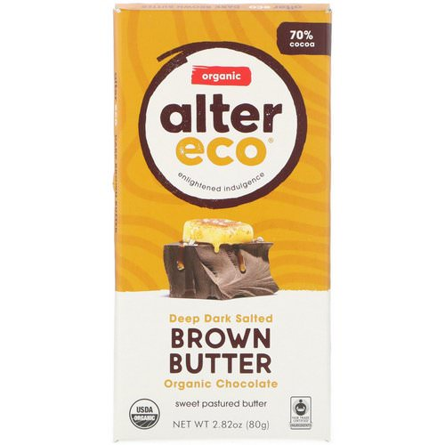 Alter Eco, Organic Chocolate Bar, Deep Dark Salted Brown Butter, 2.82 oz (80 g) فوائد