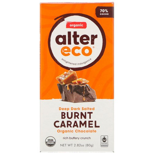 Alter Eco, Organic Chocolate Bar, Deep Dark Salted Burnt Caramel, 2.82 oz (80 g) فوائد
