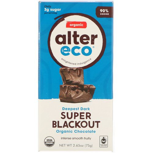 Alter Eco, Organic Chocolate Bar, Deepest Dark Super Blackout, 2.65 oz (75 g) فوائد