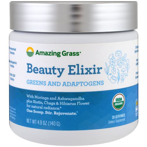 Amazing Grass, Beauty Elixir, Greens And Adaptogens, 4.9 oz (140 g) فوائد