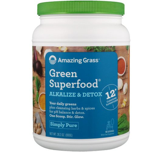 Amazing Grass, Green Superfood, Alkalize & Detox, 1.8 lbs (800 g) فوائد