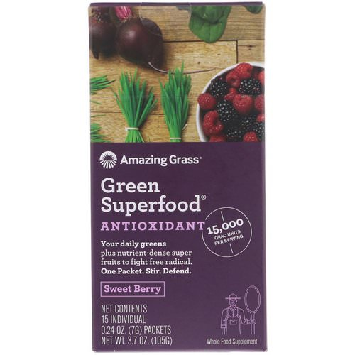 Amazing Grass, Green Superfood, Antioxidant, Sweet Berry, 15 Individual Packets, 0.24 oz (7 g) Each فوائد