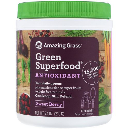 Amazing Grass, Green Superfood Antioxidant, Sweet Berry, 7.4 oz (210 g) فوائد