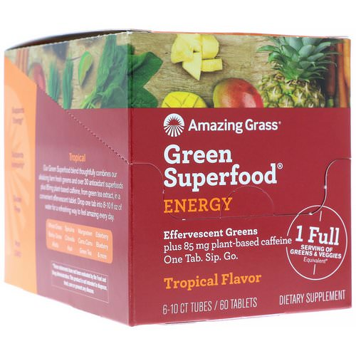 Amazing Grass, Green Superfood, Effervescent Greens Energy, Tropical Flavor, 6 Tubes, 10 Tablets Each فوائد