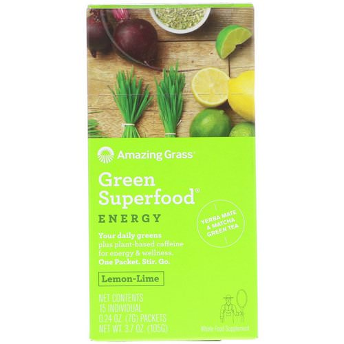 Amazing Grass, Green Superfood, Energy, Lemon Lime Flavor, 15 Individual Packets, 0.24 oz (7 g) Each فوائد