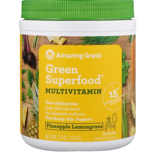 Amazing Grass, Green Superfood, Multivitamin, Pineapple Lemongrass, 7.4 oz (210 g) فوائد