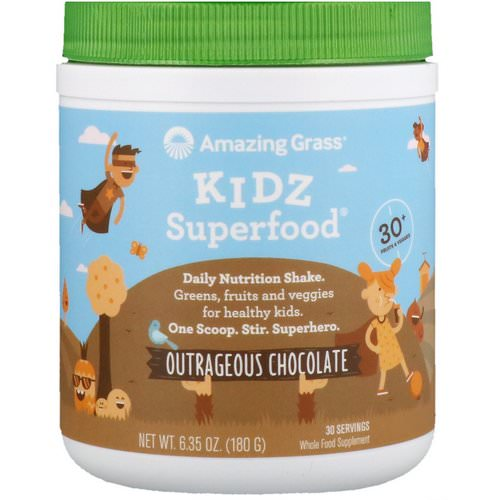 Amazing Grass, Kidz Superfood, Outrageous Chocolate, 6.35 oz (180 g) فوائد