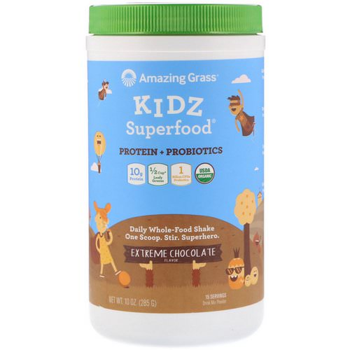 Amazing Grass, Kidz Superfood, Protein + Probiotics, Extreme Chocolate, 10 oz (285 g) فوائد