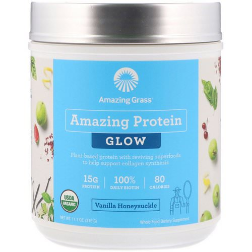 Amazing Grass, Organic Amazing Protein with Biotin, Glow, Vanilla Honeysuckle, 11.1 oz (315 g) فوائد