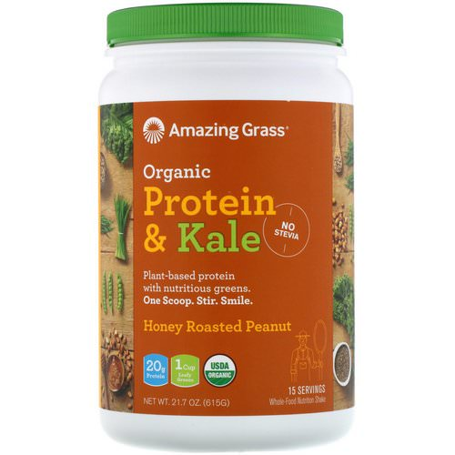 Amazing Grass, Organic Protein & Kale, Plant Based, Honey Roasted Peanut, 21.7 oz (615 g) فوائد