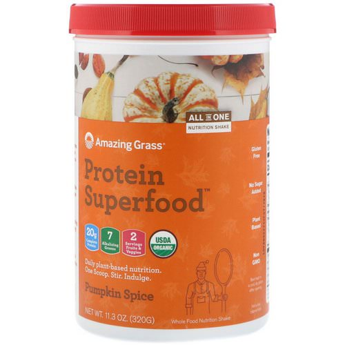 Amazing Grass, Protein Superfood, Holiday Pumpkin Spice, 11.3 oz (320 g) فوائد
