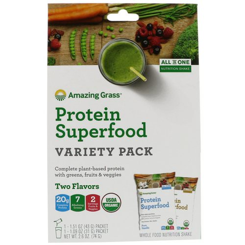 Amazing Grass, Protein Superfood Variety Pack, Two Flavors, Chocolate Peanut Butter & Pure Vanilla, 2 Packets فوائد