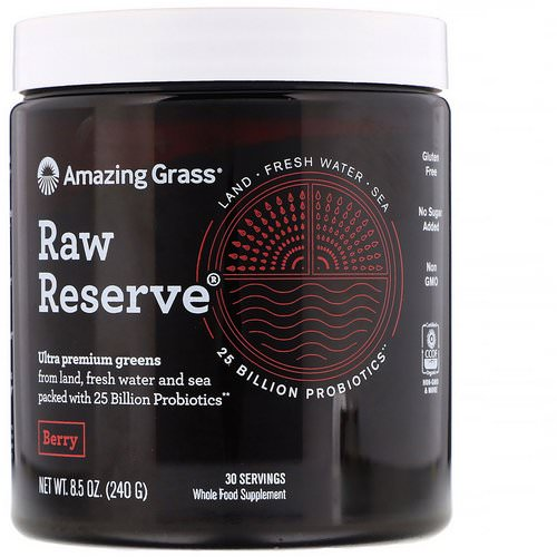 Amazing Grass, Raw Reserve, Ultra Premium Greens, Berry, 8.5 oz (240 g) فوائد