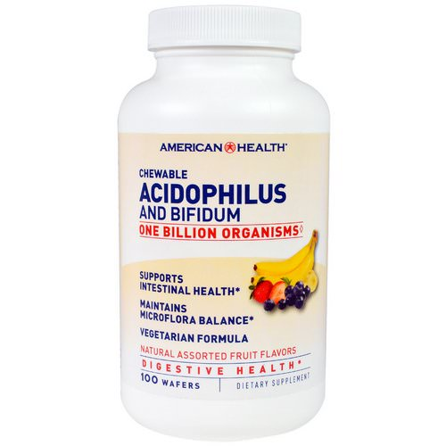 American Health, Chewable Acidophilus And Bifidium, Natural Assorted Fruit Flavors, 100 Wafers فوائد