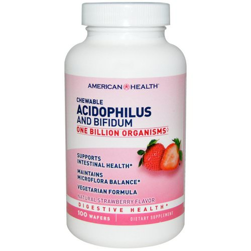 American Health, Chewable Acidophilus and Bifidum, Natural Strawberry Flavor, 100 Wafers فوائد
