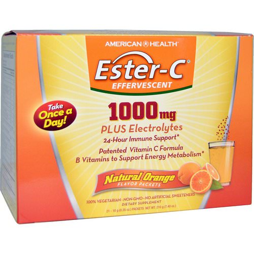 American Health, Ester-C Effervescent, Natural Orange Flavor, 1000 mg, 21 Packets, 0.35 oz (10 g) Each فوائد
