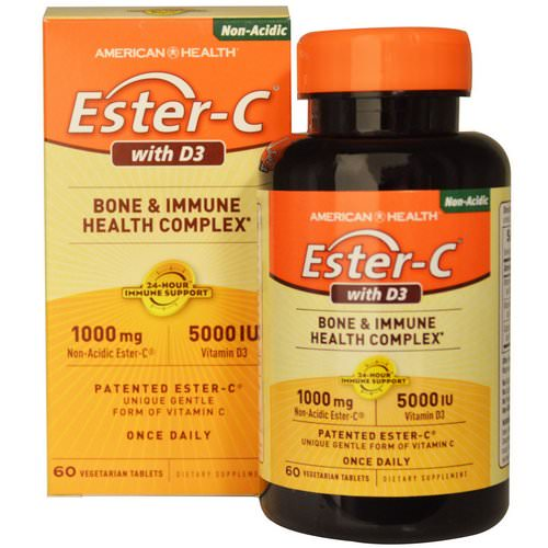 American Health, Ester-C with D3, Bone and Immune Health Complex, 1000 mg/5000 IU, 60 Veggie Tabs فوائد