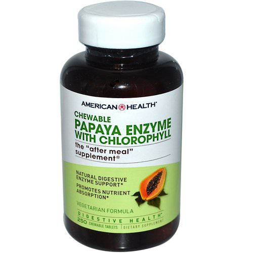 American Health, Papaya Enzyme with Chlorophyll, 250 Chewable Tablets فوائد