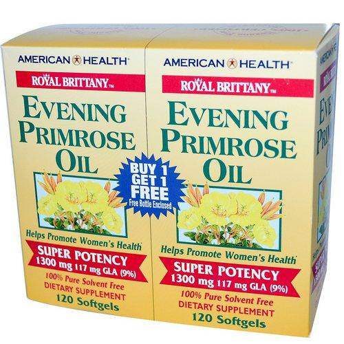 American Health, Royal Brittany, Evening Primrose Oil, 1300 mg, 2 Bottles, 120 Softgels Each فوائد