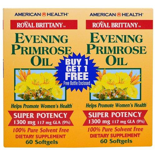 American Health, Royal Brittany, Evening Primrose Oil, 1300 mg, 2 Bottles, 60 Softgels Each فوائد