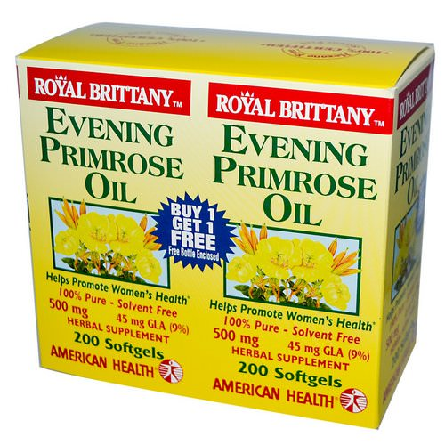 American Health, Royal Brittany, Evening Primrose Oil, 500 mg, 2 Bottles, 200 Softgels Each فوائد