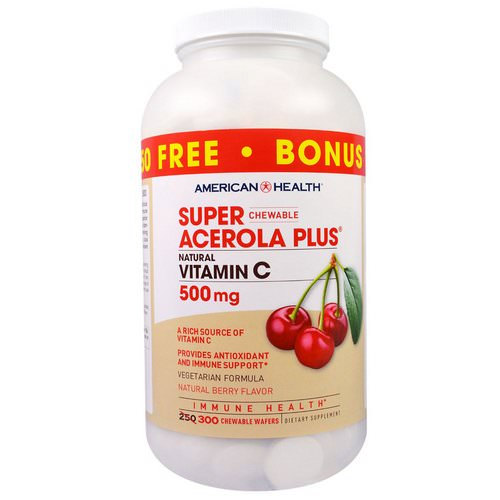 American Health, Super Chewable Acerola Plus, Natural Berry Flavor, 500 mg, 300 Chewable Wafers فوائد