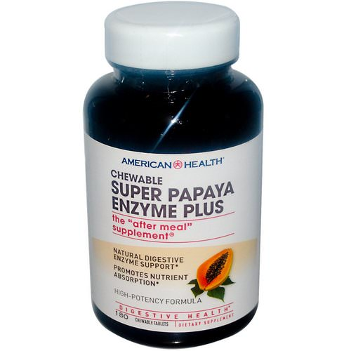 American Health, Super Papaya Enzyme Plus, 180 Chewable Tablets فوائد