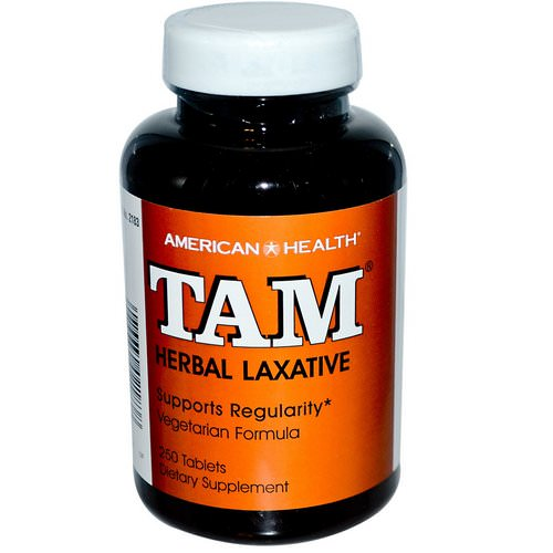 American Health, TAM, Herbal Laxative, 250 Tablets فوائد