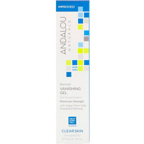 Andalou Naturals, Blemish Vanishing Gel, Maximum Strength, Clear Skin, .6 fl oz (18 ml) فوائد
