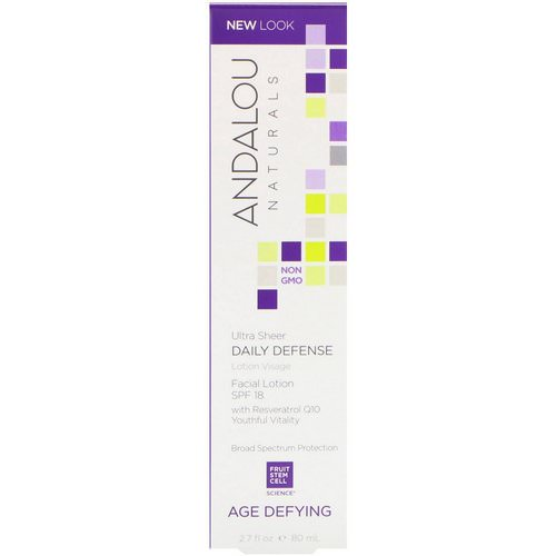 Andalou Naturals, Facial Lotion, Ultra Sheer Daily Defense, SPF 18, Age Defying, 2.7 fl oz (80 ml) فوائد