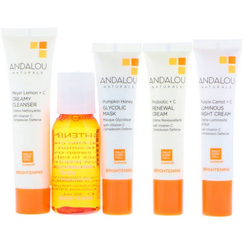 Andalou Naturals, Get Started Brightening, Skin Care Essentials, 5 Piece Kit فوائد
