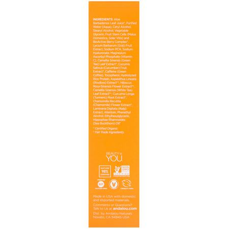 Andalou Naturals, Luminous Eye Serum, Brightening, .6 fl oz (18 ml):مصل فيتامين C, سطع