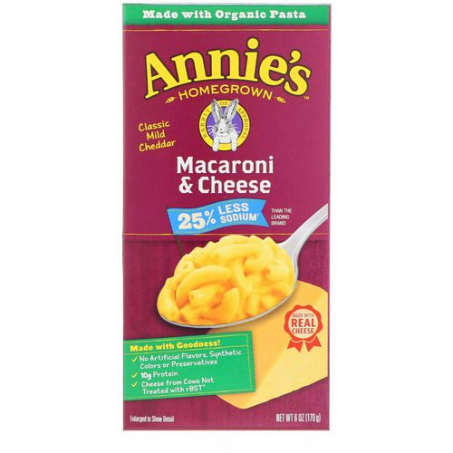 Annie's Homegrown, Macaroni & Cheese, Classic Mild Cheddar, Less Sodium, 6 oz (170 g) فوائد