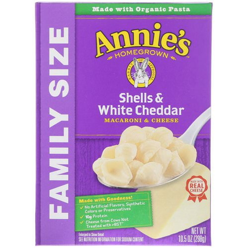 Annie's Homegrown, Macaroni & Cheese, Shells & White Cheddar, Family Size, 10.5 oz (298 g) فوائد