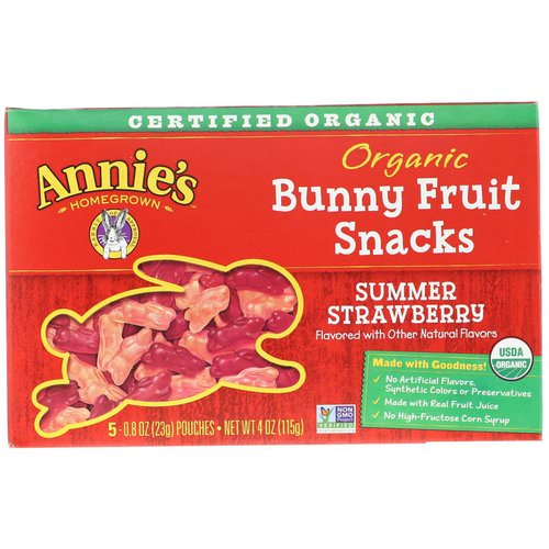 Annie's Homegrown, Organic Bunny Fruit Snacks, Summer Strawberry, 4 oz (115 g) فوائد