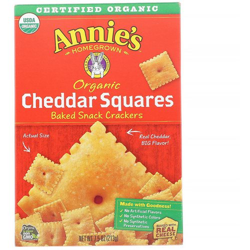 Annie's Homegrown, Organic Cheddar Squares, Baked Snack Crackers, 7.5 oz (213 g) فوائد