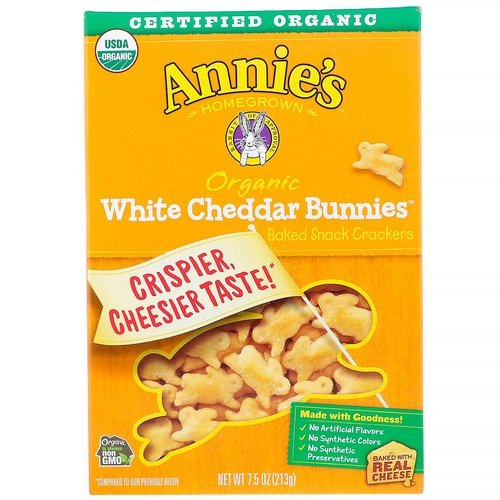 Annie's Homegrown, Organic White Cheddar Bunnies, Baked Snack Crackers, 7.5 oz (213 g) فوائد