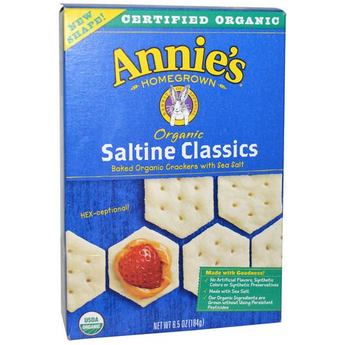 Annie's Homegrown, Saltine Classics, Baked Crackers with Sea Salt, Organic, 6.5 oz (184 g) فوائد