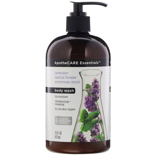 ApotheCARE Essentials, The Soother, Body Wash, Lavender & Cactus Flower & Moroccan Mint, 16 fl oz (473 ml) فوائد
