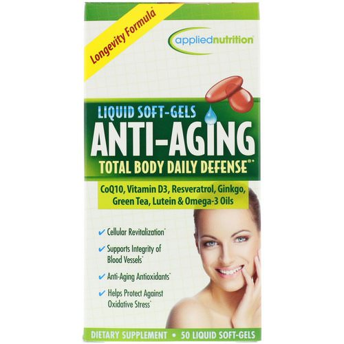 appliednutrition, Anti-Aging Total Body Daily Defense, 50 Liquid Soft-Gels فوائد