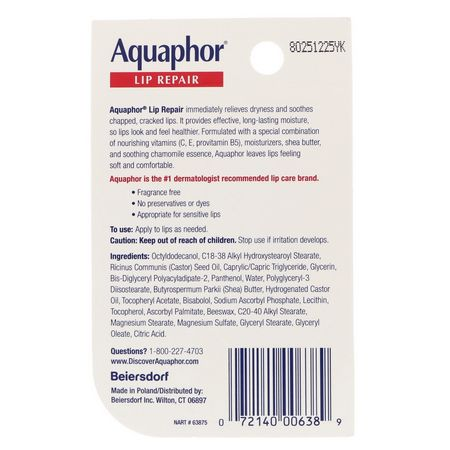 Aquaphor, Lip Repair, Immediate Relief, Fragrance Free, .35 fl oz (10 ml):مرطب الشفاه, العناية بالشفاه